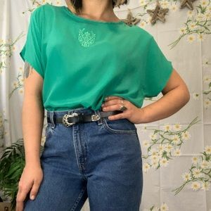 Vintage 80s teal embroidered crest detail boxy top